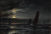 sailing ships in moonlight by carl ludwig bille