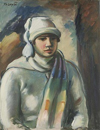 a girl in a white cap by francisek srp