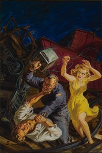 man being beaten by dynamite switch at train wreck site (illus. for dime detective) by norman saunders