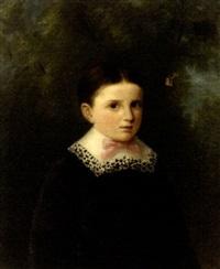 portrait d'enfant au noud rose by jules gaspard rastoux