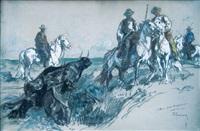 gardians et leurs taureaux sortant de l'eau by henri rousseau