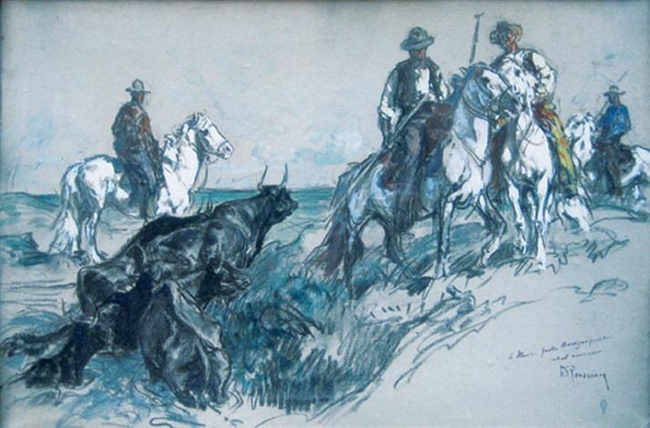 gardians et leurs taureaux sortant de leau by henri rousseau