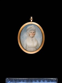 a lady, wearing white dress with lace trim, black ribbon choker, gold earrings, her powdered hair upswept and dressed with a white turban by thomas hull