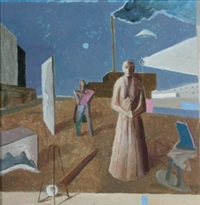 figures near industrial site by ernest walter smith