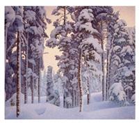 snötyngt vinterlandskap by hilding werner