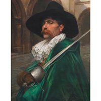 musketeer in a green cape on guard by alex de andreis