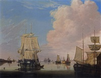 a river estuary with a moored threemaster under sail, sailors disembarking into a boeier, other boats and threemasters in the background by jan hendrik boshamer
