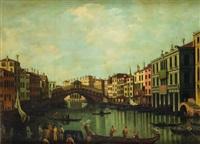 venezia, veduta del canal grande con il ponte di rialto by luigi querena