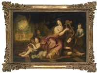 allegory of music (a portrait of mme. de maintenon with the natural children of louis xiv) by antoine coypel