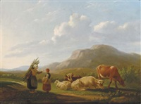 a summer landscape with cattle by matthijs quispel