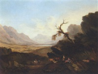 drovers resting on a mountainous landscape by joseph rhodes
