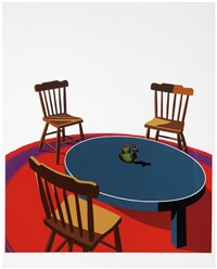 chairs, table, rug, cup (interior series) by ken price
