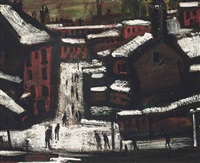 houses in the snow, wigan by theodore major