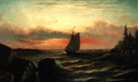 a scene in casco bay - four miles from portland, maine by joseph warner