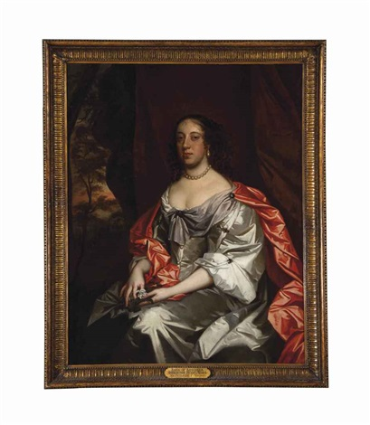 portrait of a lady traditionally identified as anne of austria regent of france seated three quarter length wearing a white satin dress by sir peter lely