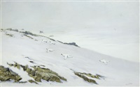 ptarmigan in snow; partridge in flight; grouse in flight (set of 3) by george edward lodge