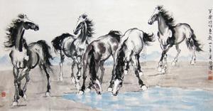 五骏图 horse by xu beihong
