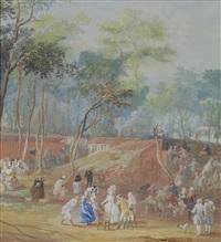 the champs elysées - elegant figures feasting and dancing in a landscape by louis nicolas van blarenberghe