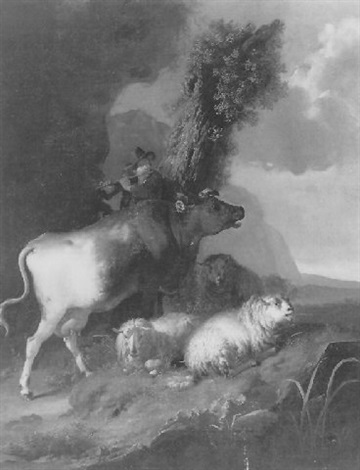 de fluitspelende herder by jan hendrick van den bosch
