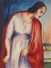 herbst (frau mit rotem überwurf) by christian arnold