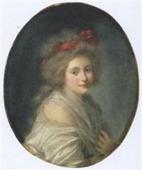 portrait de jeune femme en buste, au noeud rouge dans la chevelure by marie-victoire lemoine