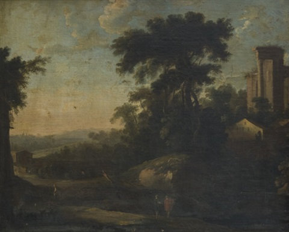 paysage de ruine animé de personnages au premier plan by pierre antoine patel