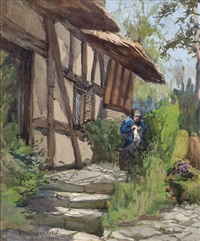 old woman by a cottage by norman garstin