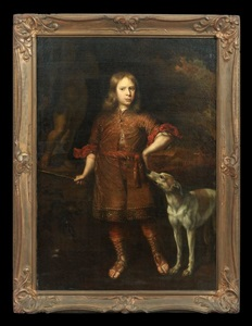 full length portrait of a young boy with his greyhound in a classical landscape by flemish school 1718