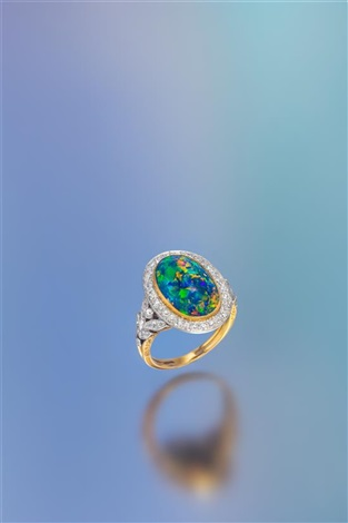 a3caf1f55 an edwardian platinum topped gold, black opal and diamond ring, marcus & co.