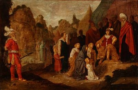 two religious scenes 2 works by rombout van troyen