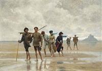 les peintres de retour du mont saint-michel by gabriel-charles deneux
