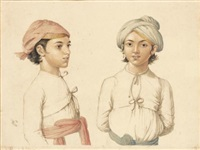portraits de deux jeunes indiens au turban by anglo-indian school (19)