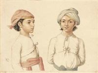 portraits de deux jeunes indiens au turban by anglo-indian school (19)