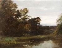 paysage au bord de rivière by louis-auguste auguin