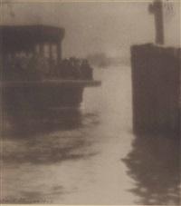 ferryboat landing east river, new york by karl struss