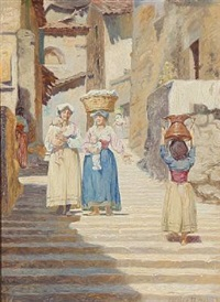 street scene in subiaco with women and their children by cilius (johannes konrad) andersen
