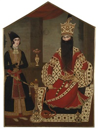 qajar royal portrait of fath'ali shah attended by a prince by 'ali mihr