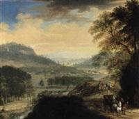 landschaft mit blick auf ein flußtal, rechts reiter und ein wagen by frans breydel