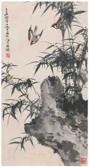 竹石双雀图 by qiao mu