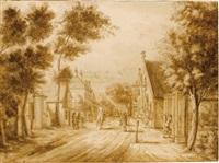 view of the herenstraat, voorburg, seen from oosteinde by paulus constantijn la (la fargue) fargue