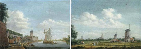 a river landscape with elegant townsfolk promenading by a city wall by jordanus hoorn