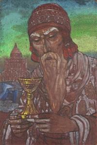 king solomon (+ falcon hunt, verso) by svetoslav nikolaevich roerich