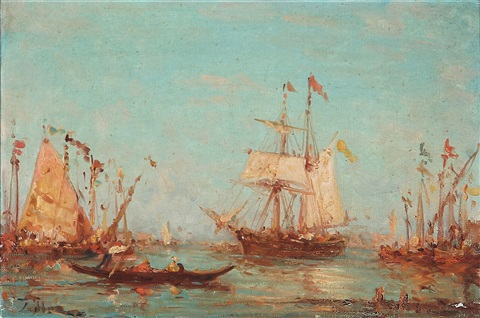 view from venice with sailing ships and gondolas by félix ziem