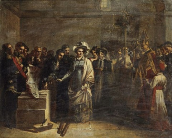 la duchesse dangoulême posant la première pierre du monument élevé aux victimes de quiberon by louis charles auguste couder
