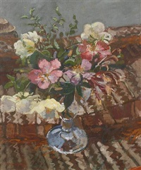 spring flowers in a glass vase by mary jackson