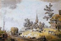 landschap met vee en een hooiwagen, in de verte een dorp by cornelis van noorde