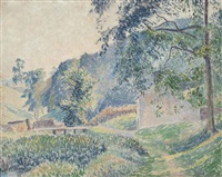 brookleton, misty morning, youlgreave by lucien pissarro
