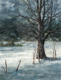 winter scene with tree by phil j. metzger