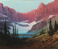 iceberg lake - glacier park by louis b. akin