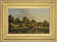the watermill (+ anglers on a tranquil river; 2 works) by anthony sandys
